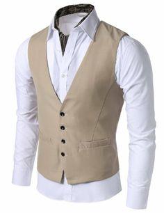 Doublju Mens 4 button Slim Vest at Amazon Men's Clothing store