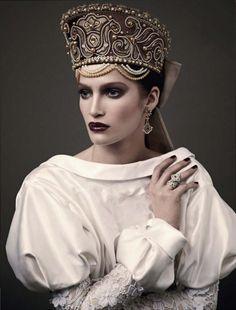 The Kokoshnik Story: Fashiontography: model Marta Berzkalna, photographer Mariano Vivanco, in Russian Vogue April 2011, styled by Katerina Mukhina