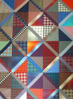 pretty use of shirting plaids would be a great memory quilt idea for someone who wanted to make a quilt from shirts of their loved ones. Could use the button placket on the diagonal for add'l texture Flannel Quilts, Plaid Quilt, Striped Quilt, Boy Quilts, Scrappy Quilts, Shirt Quilts, Patch Quilt, Quilt Blocks, Scrap Quilt Patterns