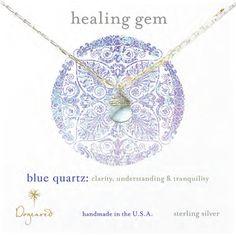 Dogeared Briolette Healing Gem Necklace Blue Quartz - Sterling Silver $52