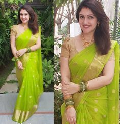 Simple Blouse Designs, Fancy Blouse Designs, Bridal Blouse Designs, Saree Blouse Designs, Indian Bridal Fashion, Indian Fashion Dresses, Dress Indian Style, Indian Outfits, Parrot Green Saree