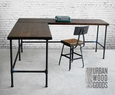 Reclaimed Wood L Desk, Solid Wood Corner Desk, Office Desk with iron pipe legs. Choose size, wood thickness, return side and finish. Shape Reclaimed, Reclaimed Wood Furniture, Pallet Wood, Barn Wood, Modern Office Desk, Home Office Desks, Wood Corner Desk, Custom Desk, Custom Tables
