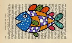 Colorful Flying Blimp Fish Folk Art original painting antique book page Patchwork Quilt checker board and polka dots