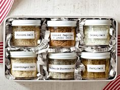holiday food gift DIY: collection of flavored salts