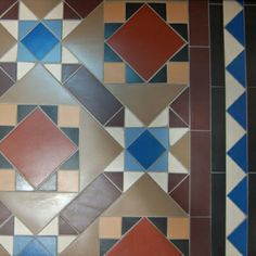 Victorian mosaic floor in many colours. Complex to lay but a pleasure to behold.