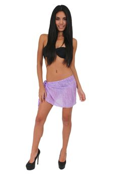 Women'S Juniors Lilac Short Burnout Bikini Wrap Hot Beach Cover Up Sarong Pareo