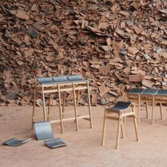 seats made from waste roofing tiles by Tsuyoshi Hayashi  - via Dezeen