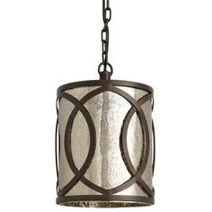 We consider creating ambience an artful endeavor. Designed for hardwire installation, this handsome pendant light exceeds expectations with its overlapping circles of hand-forged iron, contrasting beautifully against hammered mercury glass.
