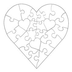 Gallery For  Heart Puzzle Pieces Template  Silhouette