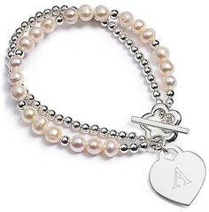 Pearl Strand Heart Bracelet. Wedding jewelry  | bridesandrings.com