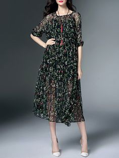 Green Elegant Floral Two Piece Crew Neck Midi Dress