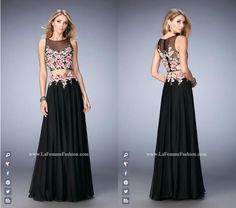La Femme Prom - 22936 two piece prom dress - black prom dress - homecoming dress - formal dress - pageant dress - chiffon gown - sheer neckline - sheer back - rhinestone embellished - floral embroidered