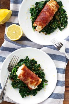 Prosciutto-Wrapped Cod with Lemon Caper Spinach. 15 Indulgent Italian Recipes That Are on the Keto Diet Ketogenic Recipes, Keto Recipes, Cooking Recipes, Healthy Recipes, Ketogenic Diet, Delicious Recipes, Simple Recipes, Healthy Dinners, Spinach Recipes