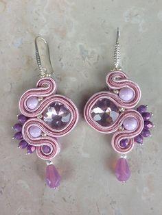 """Orecchini soutache modello """"Silver Rosa""""  con Swarovski, czech crystal e bead"""