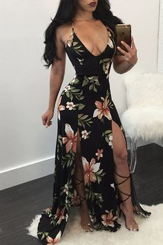 Black Floral Print Deep V-neck Cross Back Double Slit Elegant Maxi Dress Elegant Maxi Dress, Floral Maxi Dress, Dress Skirt, Dress Casual, Sexy Dresses, Cute Dresses, Fashion Dresses, Summer Dresses, Party Dresses