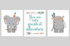 Tribal Nursery Decor, Boho Nursery Art, You Are Our Greatest Adventure, Tribal Animals, Tribal Zoo, Gender Neutral Boho, Elephant, Hippo: This is a set of the FOUR prints shown above. The price includes all four prints. Prints are freshly printed to order on 69 lb commercial grade luster paper using premium archival inks for vibrant color and longevity. Prints will last a lifetime under a glass frame. Choose your colors: Choose the prints as shown above (shades of teal/coral/peach)...