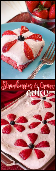 Strawberries and Cream Cake is a great summer dessert, loaded with fresh strawberries in both the cake and frosting! Perfect for a family get together. via @favfamilyrecipz