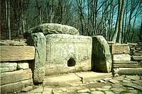 Jane valley group (not far from Vozrozdenie). The dolmen is famous by its abstract carving.