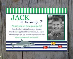 Printable Preppy Shark Birthday Invite by ThePitterPatterPress, $14.00