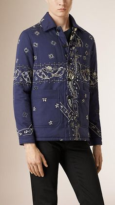 Indigo purple printed cotton quilted jacket by Burberry