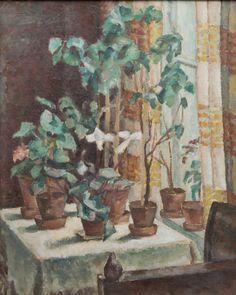 Flowers by the window. - Uuno Alanko Finnish, 1878-1964 Oil on canvas, 79 x 65 cm.