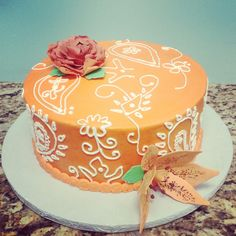 Gorgeous Piped cake with handmade sugar flowers!