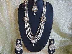 Indian Wedding Fashion Long #Rani_haar Necklace Earrings Ethnic Jewelry.A Beautiful Indian Wedding Pearls Bridal Set.