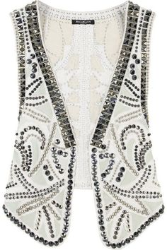 White leather vest with all over contrast stud detailing. Balmain vest has contrast patch detailing. Hippie Style, My Style, Balmain, Gilet Costume, Looks Country, Leather Vest, Studded Leather, White Leather, Boho Diy