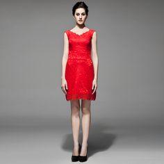 V-neck lace above the knee length bridesmaid dressRead More: http://weddingsred.com/index.php?r=v-neck-lace-above-the-knee-length-bridesmaid-dress.html