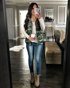 Camo quilted vest | Fall layers