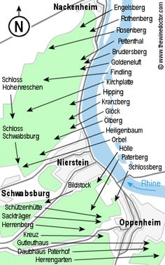 Vintage Germany Wine Map Rheingau Rhine District By Carambas - Germany vineyards map