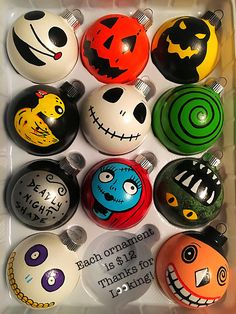 """Nightmare Before Christmas ornaments. """"And we'll have Halloween on Christmas. Nightmare Before Christmas Ornaments, Diy Christmas Ornaments, Diy Christmas Gifts, Christmas Themes, Halloween Crafts, Holiday Crafts, Christmas Crafts, Christmas Scarf, Homemade Ornaments"""