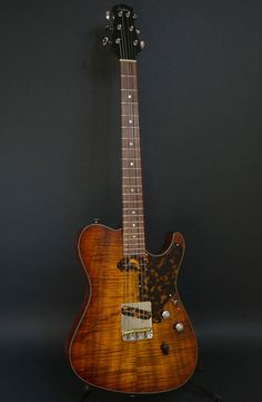 Asher Guitars & Lap Steels - The Ultra Tone™ T Deluxe w flame koa top and herringbone trim