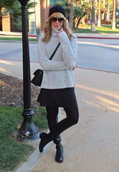 #jenknowsbest #jenandrews #grey #marled #chunkyknits #cozy #chunky #fall #skirt #leather #opaque #tights #overtheknee #boots #streetstyle #style #fashion #blog #blogger #fashionblogger www.jenknowsbest.com