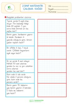 2nd Grade Math Worksheets, Learn Turkish, Homework, Student, Journal, Education, Learning, Kids, Maths