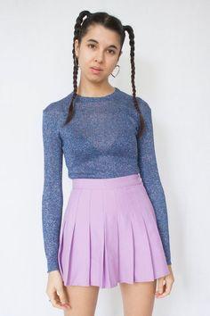 e9884b209581f Vintage 90 s Shiny Blue Long Sleeve Jumper Sweater - S