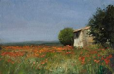 painting of Cabanon and poppy field