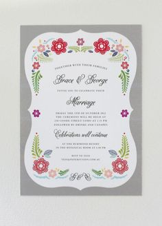 Grey #Mexican #Fiesta wedding invitation