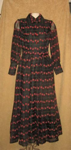 Fall Witchy Halloween Festival Hippie Vintage 1970/'s Rusty Brown Peasant Maxi Dress XS Small