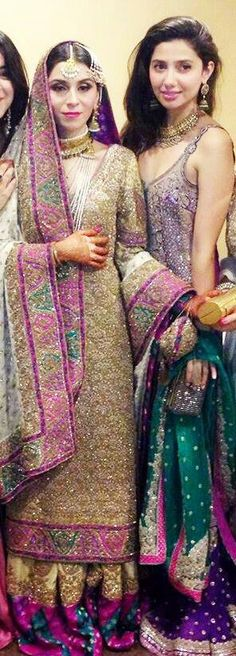 Pakistani #wedding,#shaadi, Feeha Jamshed & #Mahira Khan wearing Umar Saeed.