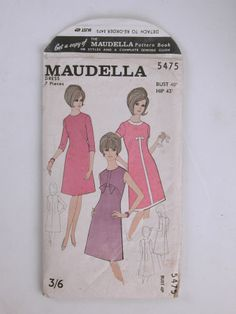 Maudella 5475 - bust 40, hip 43 - dress 7 pieces. Printed paper sleeve containing thin paper pattern for dress.