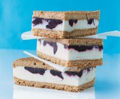 Lemon Ice Cream Sandwiches with Blueberry swirl!
