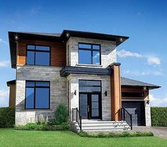 Narrow Lot Contemporary Home - 80761PM | Contemporary, Modern, Canadian, Metric, Narrow Lot, Photo Gallery, 2nd Floor Master Suite, CAD Available, PDF | Architectural Designs