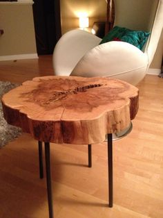 Live Edge Table with hairpin legs, Live Edge Coffee table with metal legs, Rustic Décor, Resort Furniture, Wood and metal Reclaimed Furniture, Salvaged Furniture, Tree Stump Furniture Sliced Maple End Table- Rounds