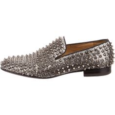 Pre-owned Christian Louboutin Dandelion Spikes Flat ($895) ❤ liked on Polyvore featuring men's fashion, men's shoes, silver, mens loafers, mens leather sole shoes, mens spiked loafers, mens spiked shoes and mens shoes