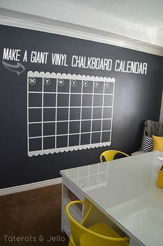 NAVY Chalkboard Wall and GIANT Calendar Tutorial -- Tatertots and Jello
