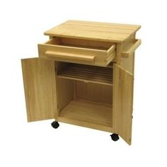 New Kitchen Island Solid Wood Utility Cart Rolling Storage Beechwood Cabinet