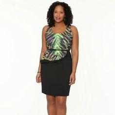 NWT Side Peplum Dress NWT Side Peplum Dress...includes skinny belt...has a cutout in the back with hidden side zipper...cute pattern Lane Bryant Dresses Midi