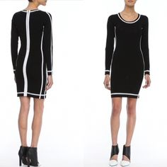 🍾2x HP🍾 Parker black and white dress Ponte with contrast edging. Round neckline; long sleeves. Hem falls above the knee. Fitted silhouette. Exposed back zip. Rayon/nylon. Imported. Retails for $295 NWOT  Parker was created by Derek Farrar and Laurieanne Gilner in 2008 with the desire to reach the city girl with an unparalleled sense of style. The design duo knows the Parker girl loves sophistication and sexy all in the same look. Parker Dresses