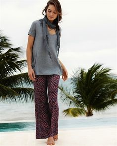 Poetry - Printed Wide Leg Jersey Trousers - Relaxed summer trousers in a soft viscose linen jersey that drapes beautifully. Very flattering fit with a smooth, panelled waistline, a concealed side zip and two jetted side pockets. 85% viscose 15% linen